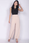 Ryenne Colour Block Jumpsuit In Black/Nude