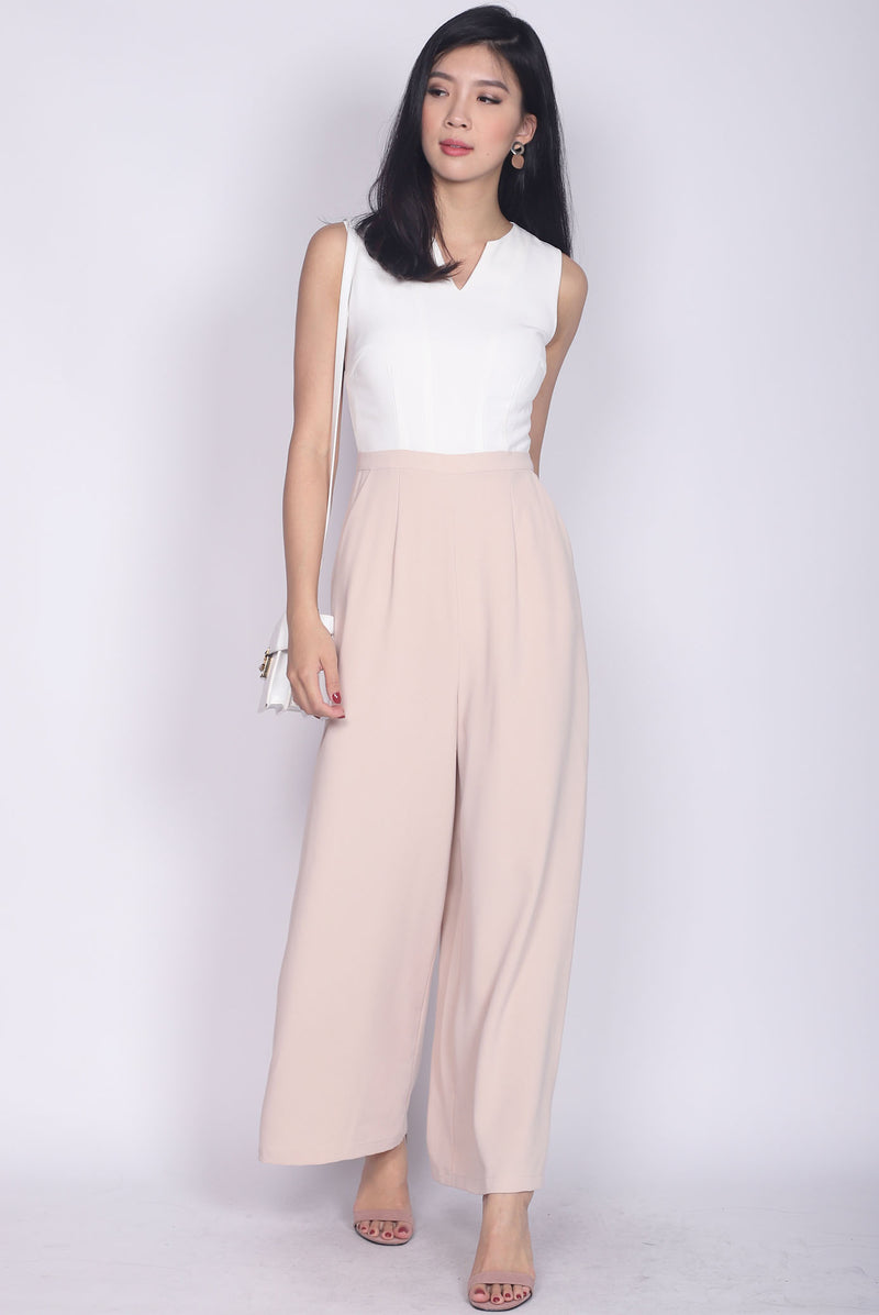 Ryenne Colour Block Jumpsuit In White/Nude