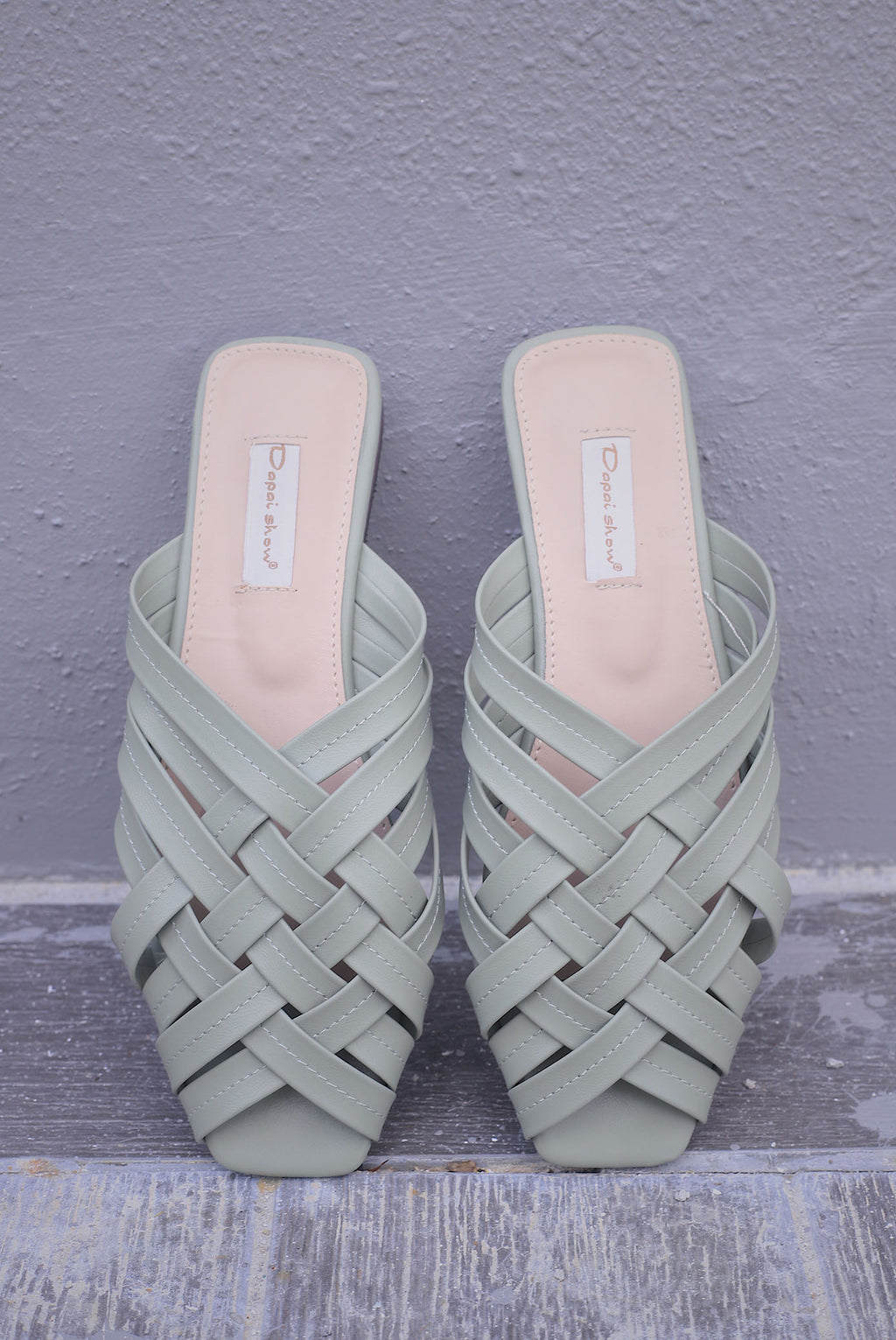 Breezy Weaved Mules In Sage