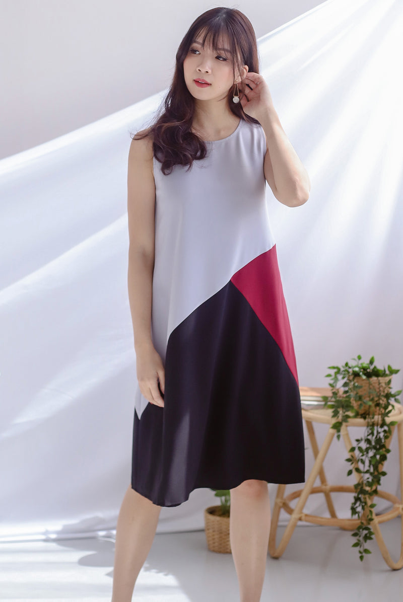 Saylor Colour Block Reversible Dress In Grey