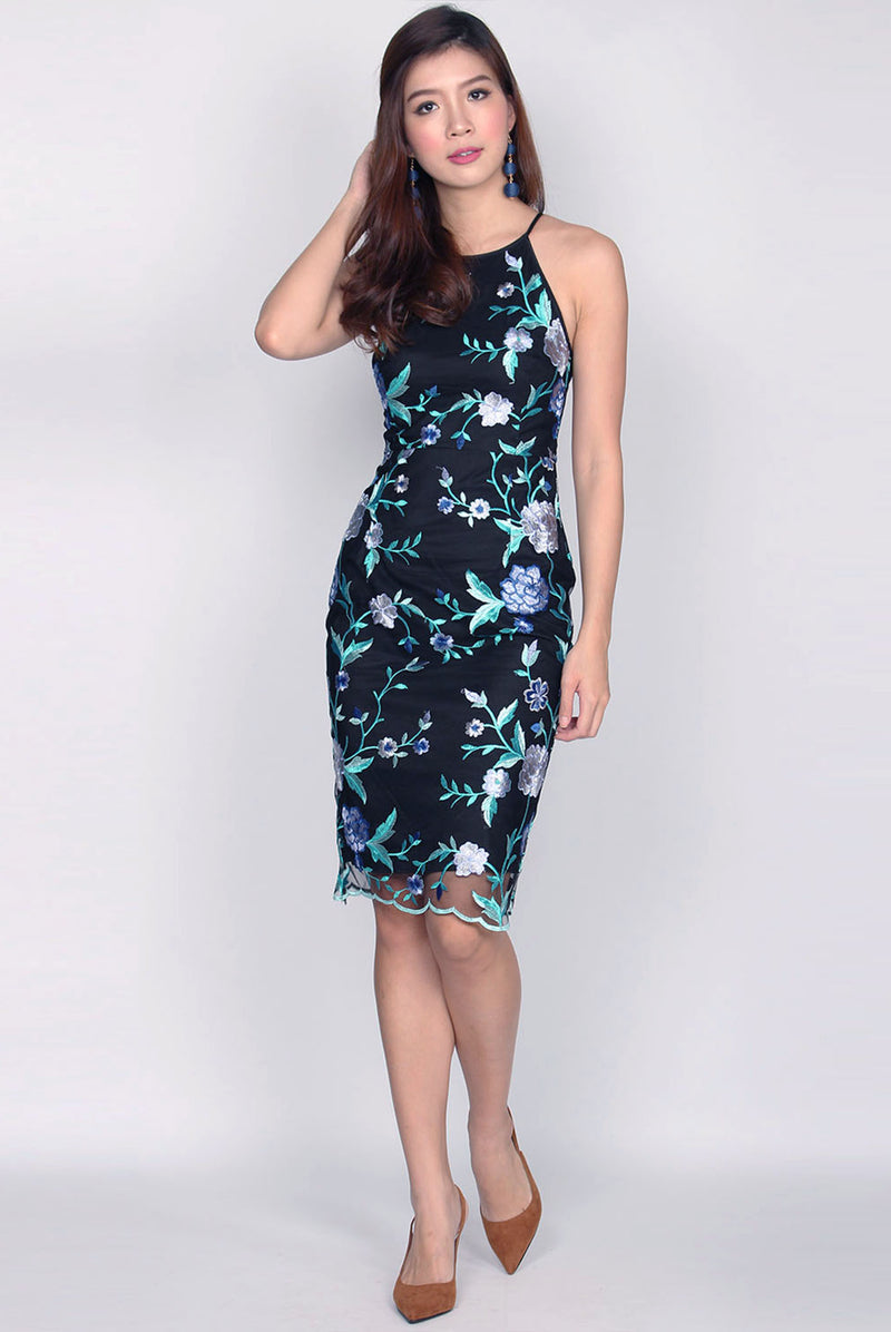 *Restock* Selah Mesh Floral Embroidery Dress In Blue