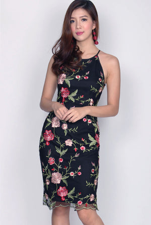 Selah Mesh Floral Embroidery Dress In Red