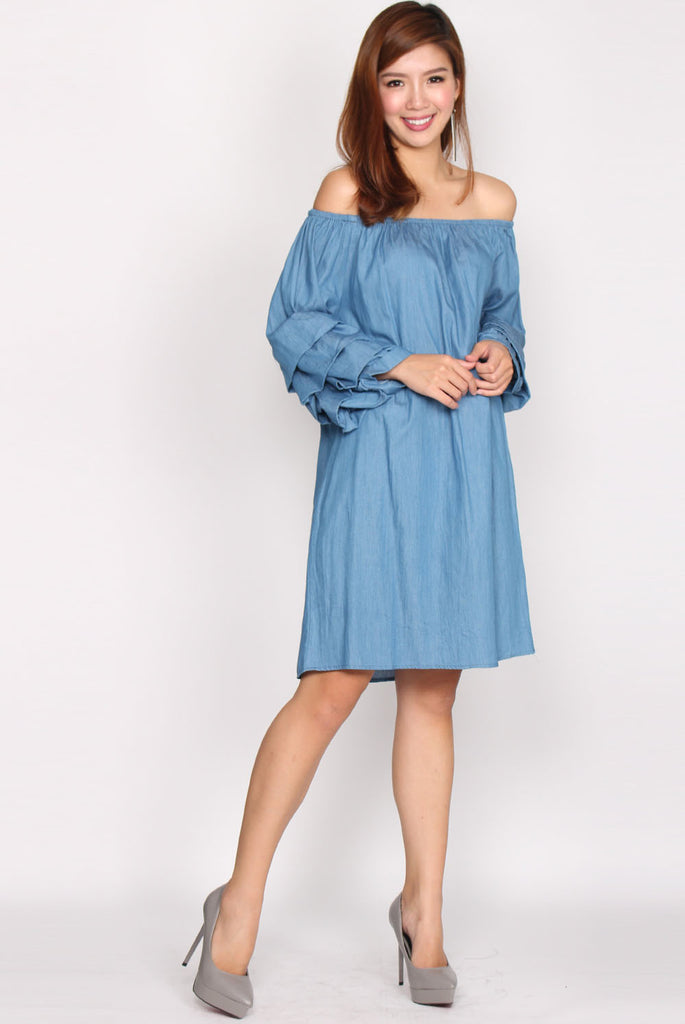 Senorita Denim Balloon Sleeve Dress