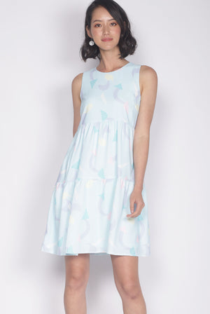 Seraph Arrows Babydoll Dress In Skyblue