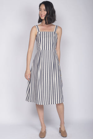 Shalice Linen Stripes Buttons Dress In Navy Blue