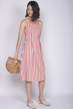 Shalice Linen Stripes Buttons Dress In Red