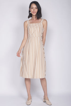 Shalice Linen Stripes Buttons Dress In Yellow