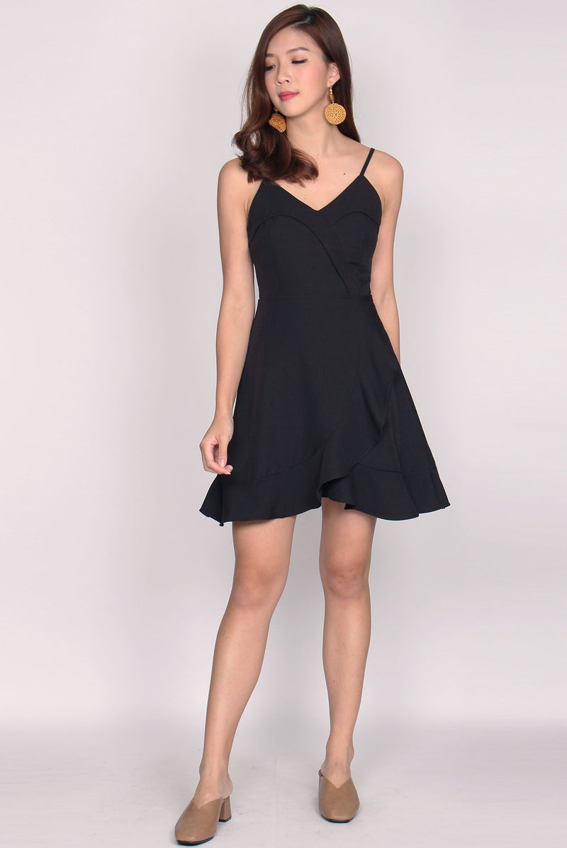 Shediya Flap Ruffle Dress In Black