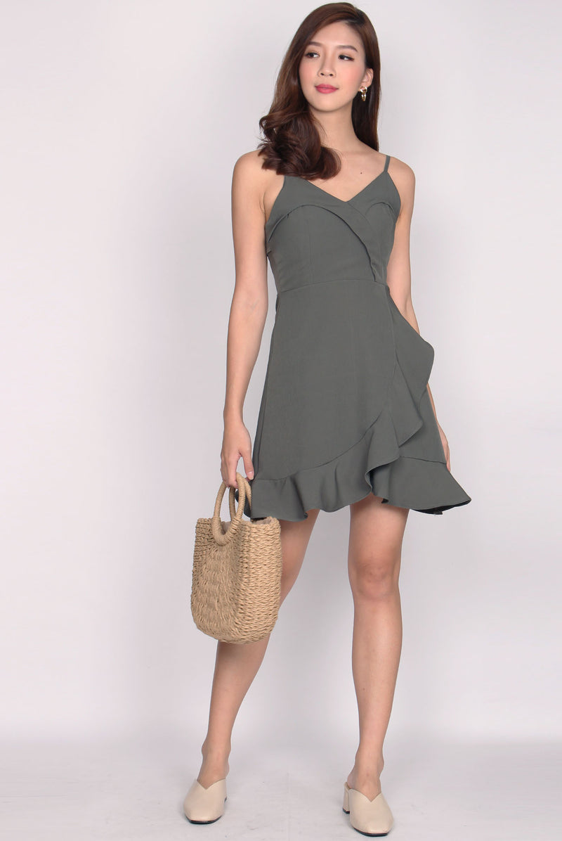 Shediya Flap Ruffle Dress In Olive