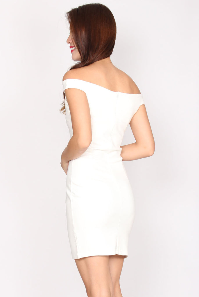 Sheridan T Shoulder Bodycon dress In White