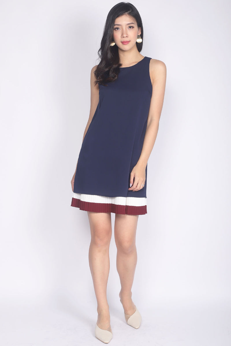 Sherron Stripes Pleats Shift Dress In Navy Blue