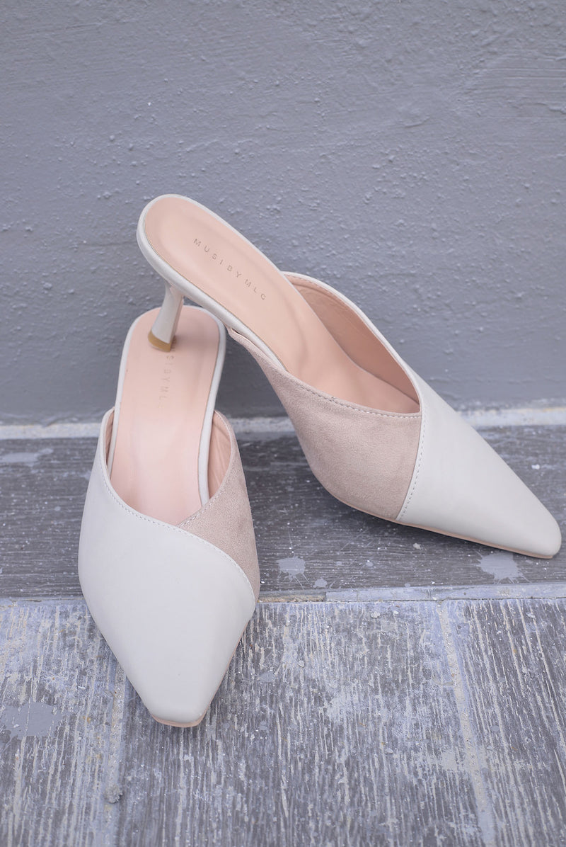 Roma Slip On Heels In Cream