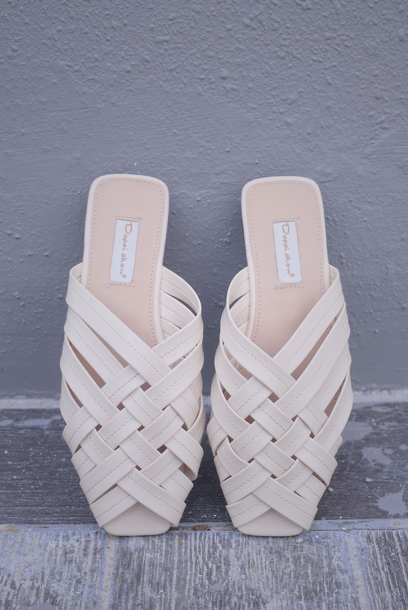 Breezy Weaved Mules In Cream