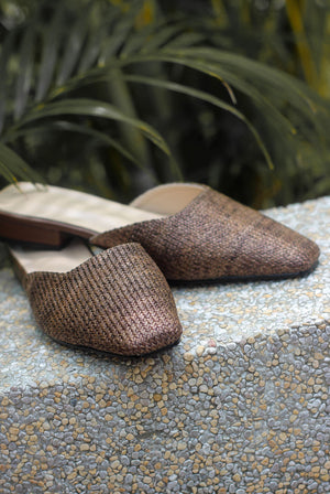Morie Straw Slip On Flats In Brown