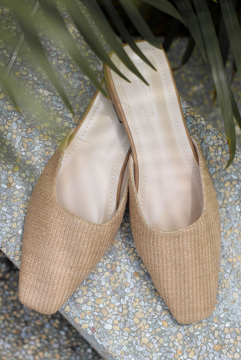 *Preorder* Morie Straw Slip On Flats In Nude