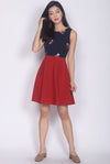 Sidony Embro Colour Block Dress In Navy/Wine