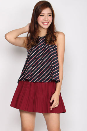 Raleigh Multi Pleat Skorts In Wine Red