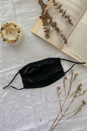 *Backorder* Mulberry Silk Mask In Black