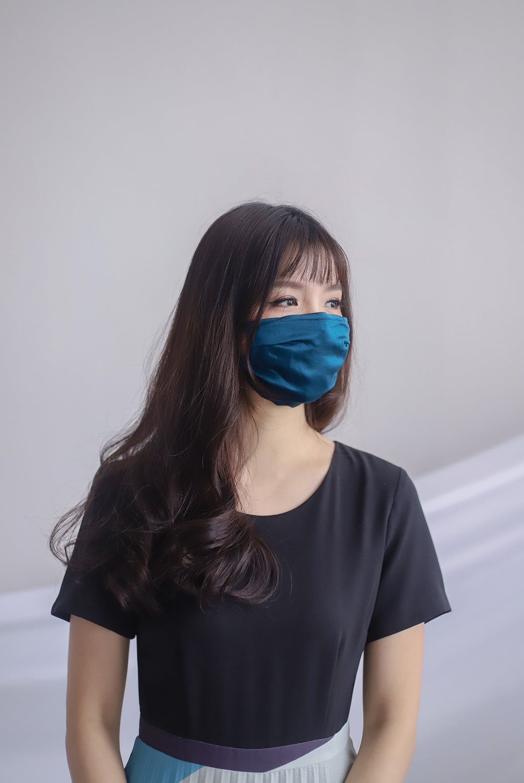 Mulberry Silk Mask In Teal