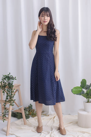 Starla Slit Flare Dress In Navy Dots