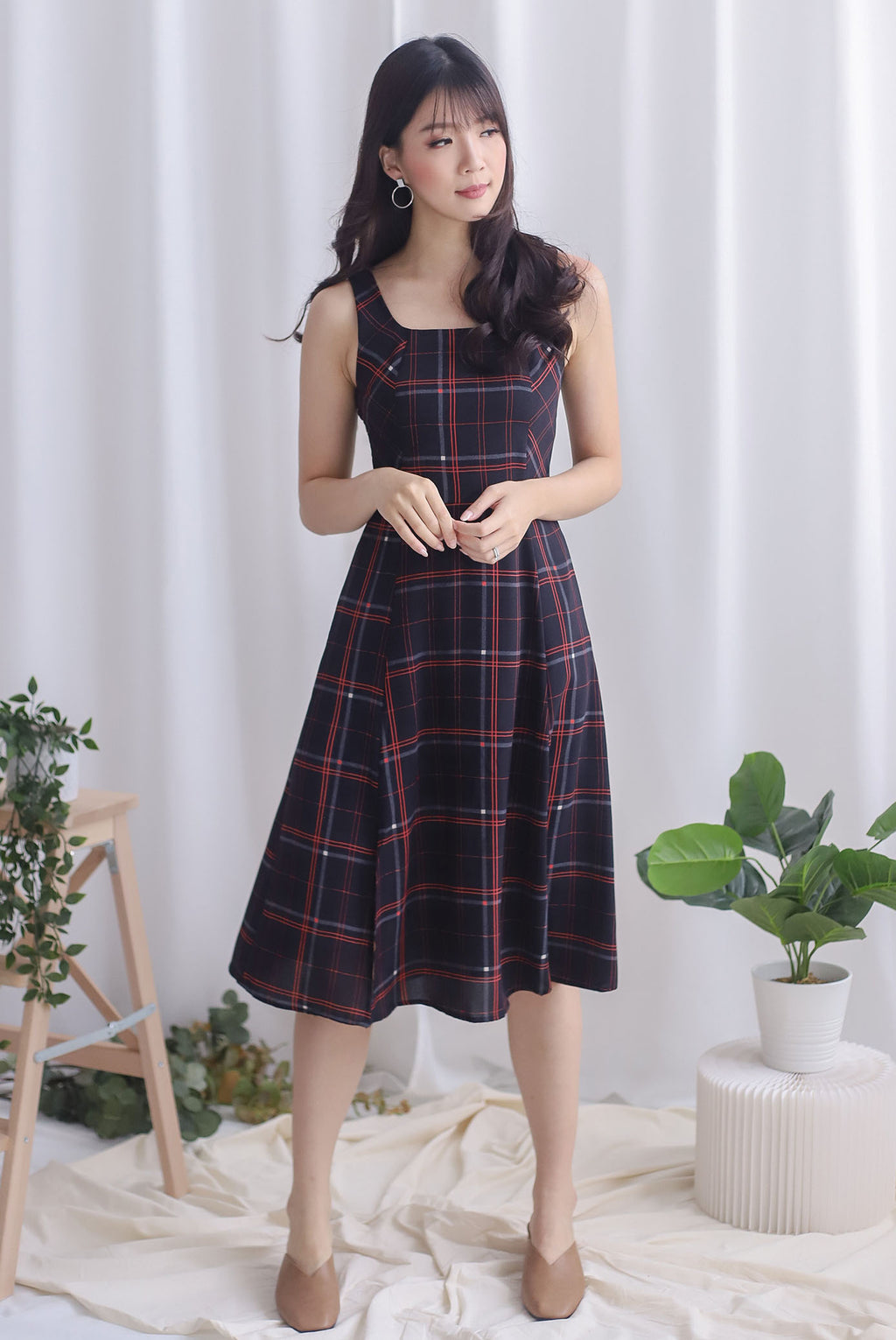 Starla Slit Flare Dress In Plaids