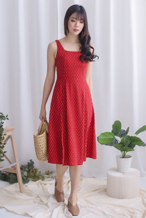 Starla Slit Flare Dress In Red Dots