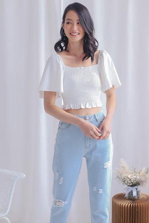 Stephi Flutter Sleeve Smocked Top In White