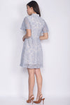 Suzie Lace Sleeved Cheong Sam Dress In Skyblue