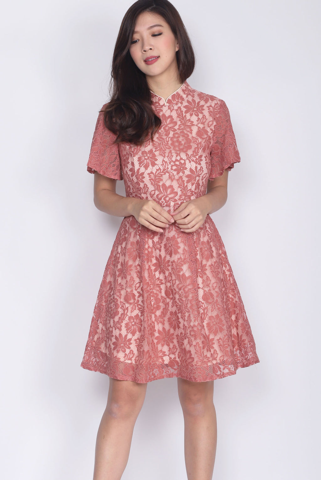 Suzie Lace Sleeved Cheong Sam Dress In Tea Rose