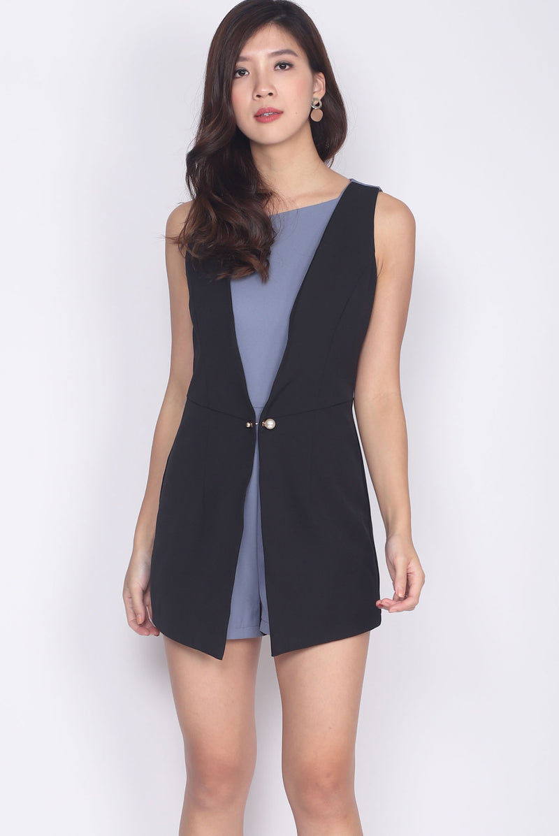 *Premium* Syerral Faux Layer Vest Romper In Black/Blue