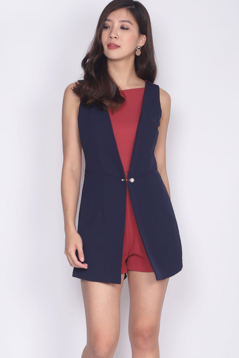 *Premium* Syerral Faux Layer Vest Romper In Navy/Rust Red
