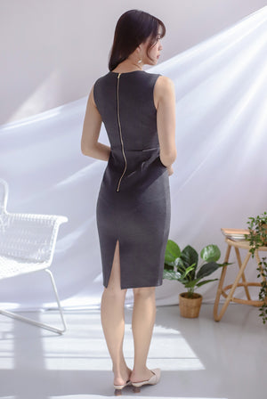 *Premium* TDC Amber Sweetheart Pencil Dress In Dark Grey