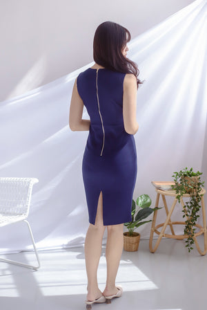 *Premium* TDC Amber Sweetheart Pencil Dress In Navy Blue