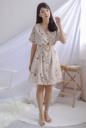 TDC Bernita Buttons Wooden Ring Dress In Cream