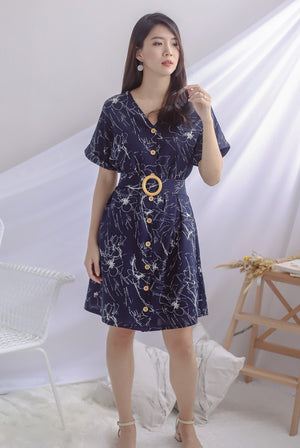TDC Bernita Buttons Wooden Ring Dress In Navy Blue