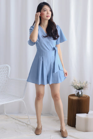 TDC Blossom Sleeved Romper In Light Blue