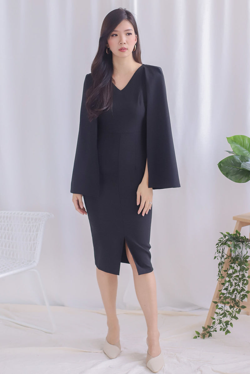*Premium* TDC Camea Cape Pencil Dress In Black