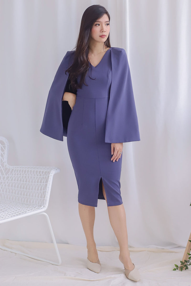 *Premium* TDC Camea Cape Pencil Dress In Steel Blue