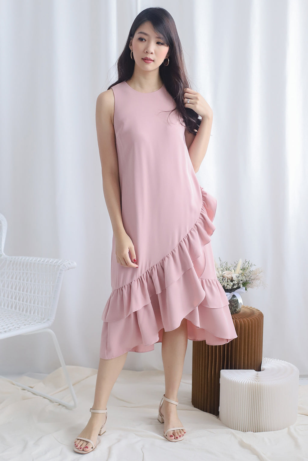 TDC Cimorene Ruffle Tiered Midi Dress In Blush