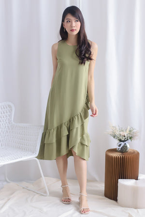 TDC Cimorene Ruffle Tiered Midi Dress In Pistachio