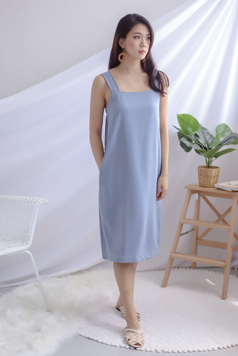 TDC Davina Knot Back Dress In Blue