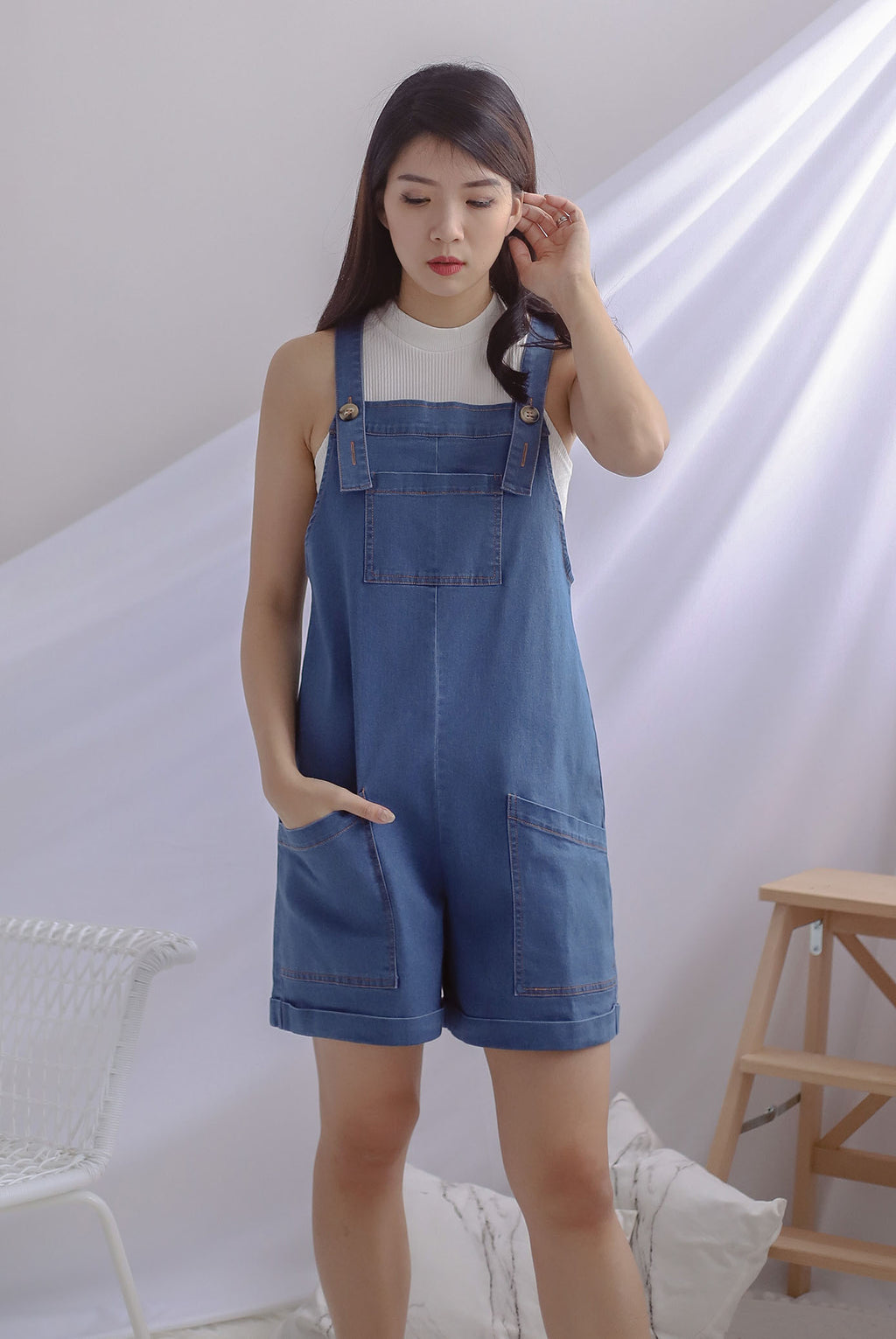 TDC Eevee Denim Pinafore Romper In Dark Wash