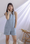 TDC Eevee Denim Pinafore Romper In Light Wash