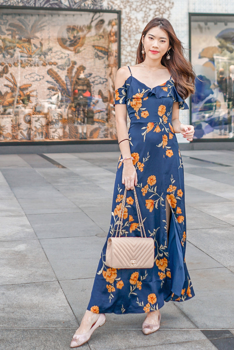*Premium* TDC Elessa Cold Shoulder Maxi Dress In Navy Blue