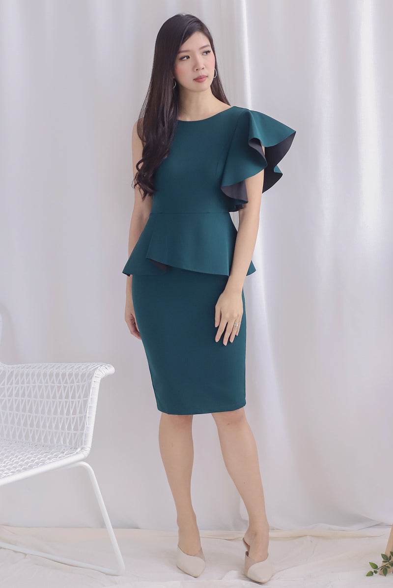 *Premium* TDC Emalyn Toga Ruffle Dress In Forest Green
