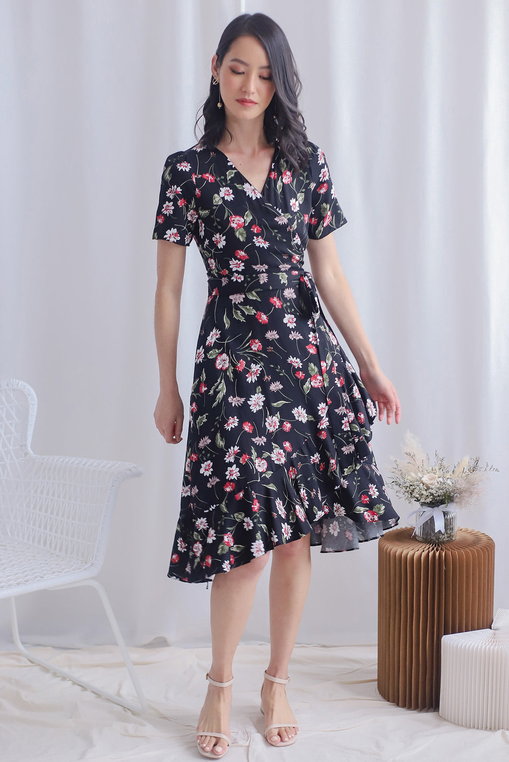 TDC Haylie Floral Wrap Dress In Black