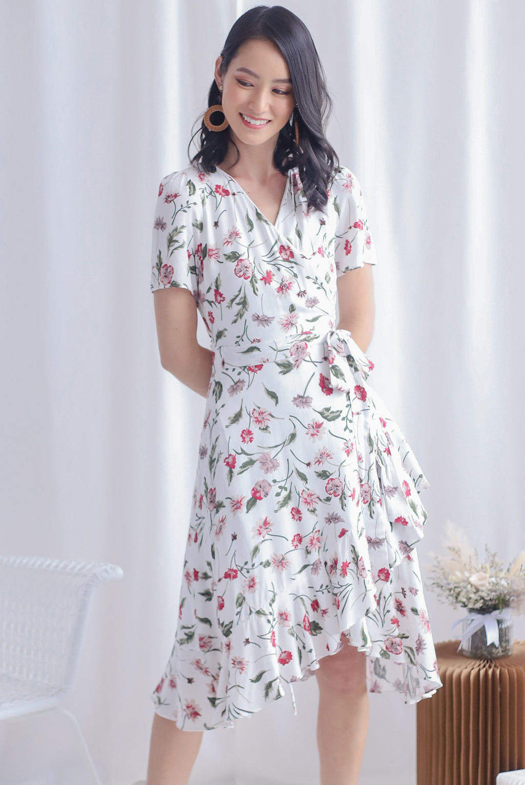 TDC Haylie Floral Wrap Dress In White