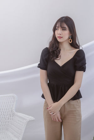 TDC Jasmine Sleeve Linen Top In Black