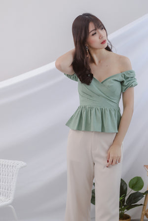 TDC Jasmine Sleeve Linen Top In Pistachio