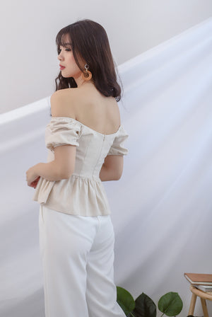 TDC Jasmine Sleeve Linen Top In Oats